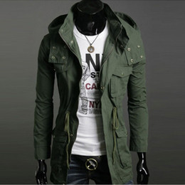 Wholesale Thin Wool Jacket Men - Wholesale-BRAND Freeshipping Mens Hooded Coat Thin Jaqueta Wool Winter Jacket Mens Thicken Overcoat Long Trench Coats Slim Military Jacket