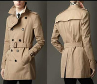 Wholesale Cheap Mens Trench Coats - Wholesale-Blue khaki double breasted long black trench coat men british style trench coat pea coat men cheap mens winter coats belt 2xl
