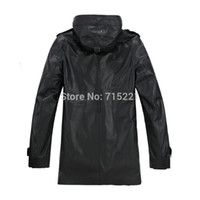 Wholesale Men Leather Hooded Jacket Coat - Wholesale-2015 EMS free shipping 4xl winter outwear genuine leather men jacket natural fox fur hooded long coat