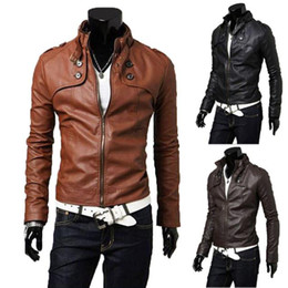 Wholesale-2015 New Korean Style Mens Male Slim Fit Zipper Designed PU Leather Jacket Size Outerwear Stylish Leather Suede Coat