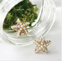 Wholesale Starfish Pearl Stud Earrings - Ladies fashion white stud Earrings Starfish pearl beautiful H229