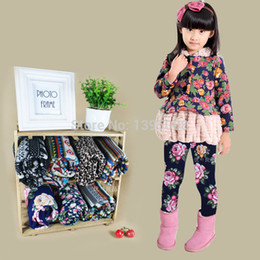 Wholesale Korean Children Floral Leggings - Wholesale-Korean-2015 New Fashion Winter Girls Floral Leggings Cotton Kids Baby Children Mid Waist Leggins Pantyhose Free Shipping