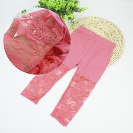 Wholesale Kids Bamboo Legging - Wholesale-2015 Summer Girls Lace Legging Fashion Flora Modal Pantyhose Candy Color Underwear Kids Pants c15