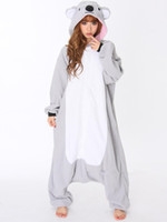 Wholesale Men Winter Pajamas - Wholesale-All In One Animal Gray Grey Koala Fleece Cosplay Onesie Adult Female Women Men Unisex Pajamas Winter Sleepwear Halloween Costume