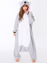 Wholesale Adult Onesie Fleece - Wholesale-All In One Animal Gray Grey Koala Fleece Cosplay Onesie Adult Female Women Men Unisex Pajamas Winter Sleepwear Halloween Costume