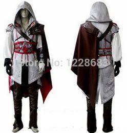 Wholesale Cosplay Ezio White - Wholesale-Free Shipping High Quality Custom Made Assassins Creed 2 II White Anime Costume Ezio Cosplay