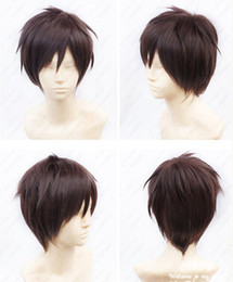 Wholesale Attack Titan Wigs - Wholesale-free shipping Attack on Titan Eren Jaeger Short Dark Brown Cosplay Wig heat resistant fiber free Wig cap