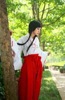 Wholesale Kikyo Costume - Wholesale-Hot Sale! Inuyasha Kikyo Kimono Cosplay Costume Full Set Custom made Halloween carnival Anime cosplay costume
