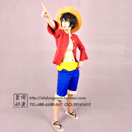 Wholesale One Piece Luffy Costume - Wholesale-Fashion Anime One Piece Monkey D Luffy after 2nd Cosplay Costume clothes with Luffy Straw Shoes dropshipping