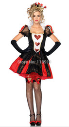 Wholesale Heart Costumes Adults - Wholesale-2015 New Adult Womens Sexy Halloween Party Queen of Hearts Costumes Outfit Fancy Court Princess Cosplay Dresses With Gloves