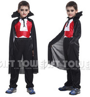 Wholesale Vampire King - Wholesale-M~XL!! New Ancient Scary Vampire King Children Cosplay Hallowean Party Costumes for Kids Cute Black Red Boy Suits Free Shipping