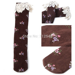 Tube À Genouillère Pas Cher-Gros-FreeDrop Expédition Baby Girls Little Flower Lace Haut Knee High Tight En Bas Tube
