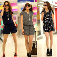 полосатые короткие комбинезоны оптовых-Wholesale-[Unbeatable At $X.99] Fashion Summer Women Casual Short Sleeve V neck Elastic Waist Jumpsuits Rompers Blue Striped Dots L XL XXL