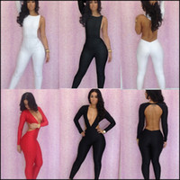 Wholesale Geometric Jumpsuits For Women - Wholesale-Clearance Sale Black White Red Rompers Womens Jumpsuit Blackless Sexy Bodysuit Clubwear Long Sleeve Overalls For Women