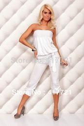 $enCountryForm.capitalKeyWord Canada - Wholesale-Free Shipping ML17553 New Womens Ladies Sexy Jumpsuit Overalls Cotton Strapless Casual Pants Solid White Jumpsuits For Women