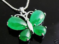 Wholesale Vogue Butterfly - Vogue green jade butterfly Jewellery necklace Pendant(2pc)