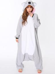 Wholesale Fleece Pajamas Men - Wholesale-All In One Animal Gray Grey Koala Fleece Cosplay Onesie Adult Female Women Men Unisex Pajamas Winter Sleepwear Halloween Costume