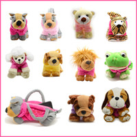 Wholesale Plush Animal Tote - Wholesale-Cute Soft Plush Pet Dog Shaped Bags with Clothes Cartoon Dog Mini Handbags Plush Casual Animal Bags