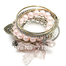 Wholesale Peach Pearl Bangle - Wholesale-Vintage Carved Peach Flower Pearl Bracelet multi