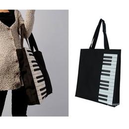 Wholesale piano bags - Wholesale-New Fashion Black Piano Keys Music Handbag Tote Bag Shopping Bag Handbag