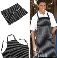 Wholesale Black Chefs Apron - Wholesale-Adult Black Stripe Bib Apron with Pocket Chef Waiter Kitchen Cook New Tool chef uniform chef clothing cooks kitchen work apron