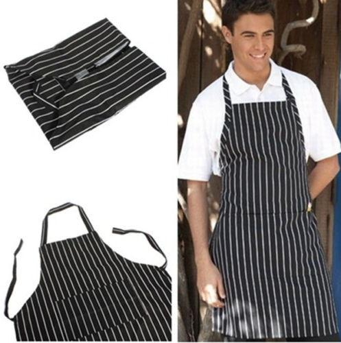 Wholesale-Adult Black Stripe Bib Apron with Pocket Chef Waiter Kitchen Cook New Tool chef uniform chef clothing cooks kitchen work apron