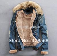 Wholesale Men S Large Jackets - Wholesale-2015 Autumn And Winter Thick Outerwear Large Fur Collar Denim Jacket Slim Denim Coat Lovers Design