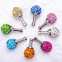 steckdose rhinestone großhandel-Wholesale-10 PC 3.5mm Kristallrhinestone-Diamant-Antistaub-Stecker für Kopfhörer-Jack-Stecker-Handy-Kopfhörer-Zusätze