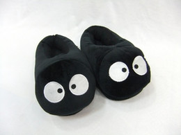 Wholesale Fairy Dust - Wholesale-Free shipping 1pair Spirited Away black fairy dust plush shoes cotton indoor slippers winter slipper for adults