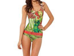 Wholesale Poison Ivy - Wholesale-HOT 2015 Tankini Sexy Bikini Bodysuit POISON IVY SWIMSUIT Digital Printing Swimwear Women Drop Shipping