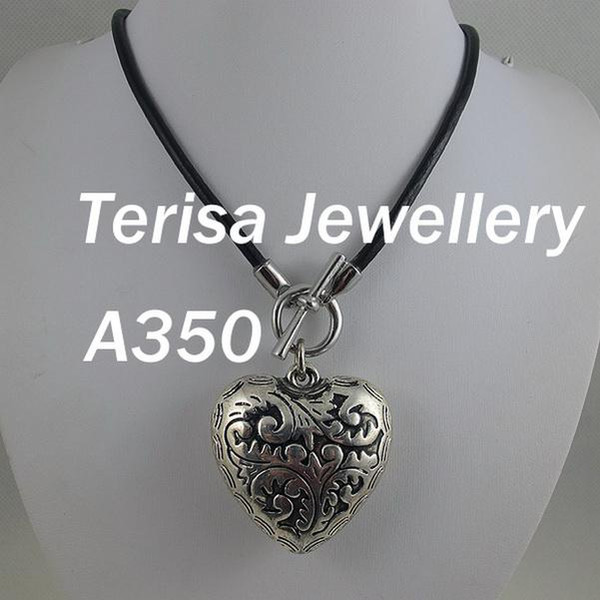 New Woman's Necklace A350# Nice Silver Pendant Heart Shaper 5x5cm Black leather string collocation .