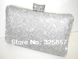 Wholesale Silver Prom Handbags Clutches - Wholesale-Silver Gold Black Crystal Diamante Evening Clutch Wedding Party Prom Bag Handbag Box KK4004