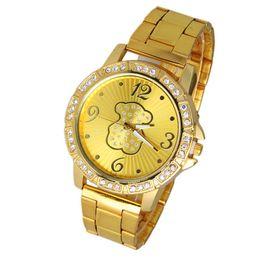 Wholesale Rhinestone Belt Ladies - Wholesale-New Fashion Bear Steel Gold Silver Women Girl Dress Wristwatches,Rhinestone Quartz Bracelet Watch Lady Gift Watches