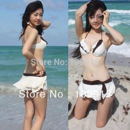Wholesale Swimwear Bow Knot - Wholesale-Sexy Push up 3 Pieces Up&Buttom Padded Ruffled Bow-Knot Style Bikini Swimwear (SL00211)
