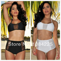 Femme Sexy Maillot De Taille Haute Taillée Pas Cher-Gros-Femmes Sexy White / Noir Sheer Mesh Shores Bikini Retro Pinup Rockabilly Vintage taille haute Push Up Maillots