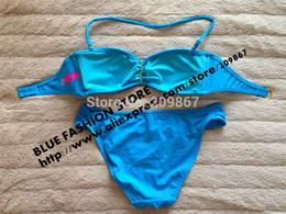 Wholesale Shining Swimwear - Wholesale-Free shipping [SM53] top brand women' sexy fashion swimwear bathing suits bikinis sky blue shining crystal free shipping