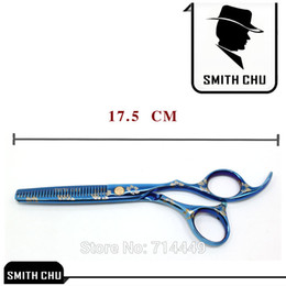 Wholesale Cherry Blossom Hair - Wholesale-SMITH CHU Hairdressing Scissors Set Flat&Teeth Hair Cut Blue Cherry Blossom Printed Straight Thinning Stainless Hair Scissors