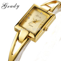 Wholesale 18k Gold Watches For Women - Wholesale-Watch women brand luxury 18K gold band ladies quartz watch watches for women