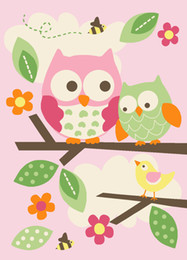 Wholesale Rug Owl - Wholesale-customizable 100% nylon quality girl baby play rug Child pink owl animal bird tree carpet 100 *137 for living room and bedroom