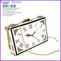Wholesale Metal Purse Handbag Frames - Wholesale-2015 Fashion Magazine Clock Evening Bag Hard Acrylic Clutch Perspex Plastic Handbag Stylish PU Purse with Metal Frame - GY39