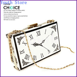 Wholesale Metal Handbag Frames - Wholesale-2015 Fashion Magazine Clock Evening Bag Hard Acrylic Clutch Perspex Plastic Handbag Stylish PU Purse with Metal Frame - GY39