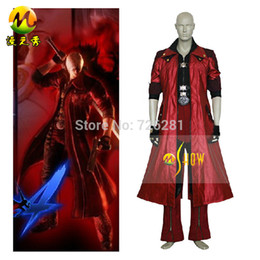 Barato Traje De Diabo De Couro-Atacado-2015 Hot Sell New Adult Cartoon Anime Character Costumes Homens Faux Leather Devil May Cry Iv 4 Dante Cosplay Windbreaker Pants
