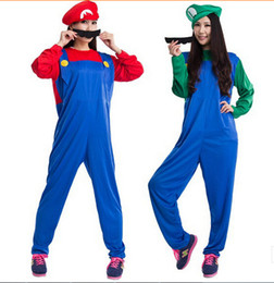Wholesale Mario Costumes For Men - Wholesale-Funy Cosplay Costume Super Mario Luigi Brothers Plumber Fancy Dress Up Party Costume for Halloween costumes for Men and Women