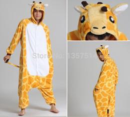 Wholesale Giraffe Pyjamas - Wholesale-Adults Flannel Pyjama Suits Cosplay Costumes Garment Cute Cartoon Animal Onesies Pajamas Giraffe Halloween Free Shipping