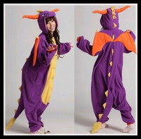 Wholesale Spyro Dragon Costume - Wholesale-Spyro Purple Dragon Flannel Adults Animal Pajamas Pyjama Anime Cartoon Cosplay Costumes unisex Adult Onesies Sleepwears