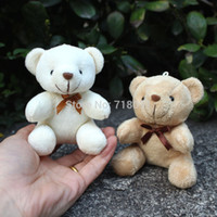 "Wholesale Soft Toys Sizes - Wholesale-Mini Size Soft Plush Toy Bear Teddy for Wedding Bouquet,Promotion Gifts,White and Brown,4"",20PCS LOT"