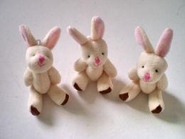 Wholesale Wholesale Cheap Dolls - Wholesale-Y92 free shipping 7.5CM=3inch small size cheap mini rabbit jointed plush stuffed doll bouquet toy wholesale 20pcs lot