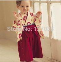 Wholesale Kimono Baby Cotton - Wholesale-Wholesale Baby Girl's 2015 NEW Spring Autumn 100% Cotton Japan Style Bow Red Flower Print Infant Romper Kimono
