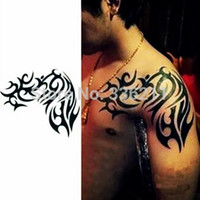 Wholesale Temporary Tattoos For Men Waterproof - Wholesale-3pcs big large totem designs Temporary tattoo stickers Waterproof body painting tatoo 3d art drawings for men arm free shipping