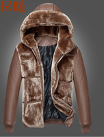 Wholesale Mens Leather Sports Coats - Wholesale-Spike ! Men clothing winter fur collar sport brand outerwear woolen winter coat fur mens jackets and coats leather jacket 3XL